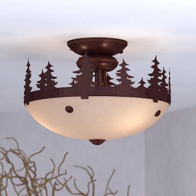 Yosemite 2L LED Bronze Rustic Tree Semi Flush Ceiling Light or Fan Light Kit - 11.75-in. W x 10-in. H x 11.75-in. D