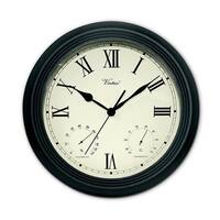 """12"""" Battery Operated Black Large Print Roman Numeral Outdoor Clock, Thermometer and Hygrometer - White"""