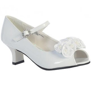 Satin Flower Low-Heel Peep-Toe