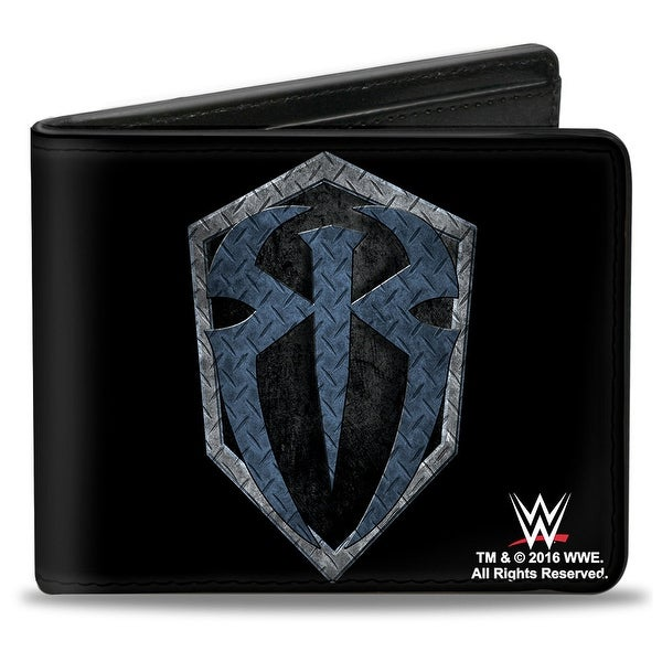 Roman Reigns Icon + Hit Hared Hit Often Diamond Plate Black Grays Blues Bi Bi-Fold Wallet - One Size Fits most