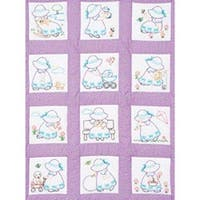 "Sunbonnet Sue - Stamped White Nursery Quilt Blocks 9""X9"" 12/Pkg"