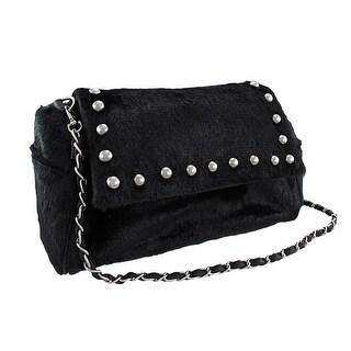 Black Faux Fur Chrome Studded Handbag Purse