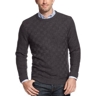 Geoffrey Beene Basketweave Crewneck Sweater Graphite Grey Heather Small S
