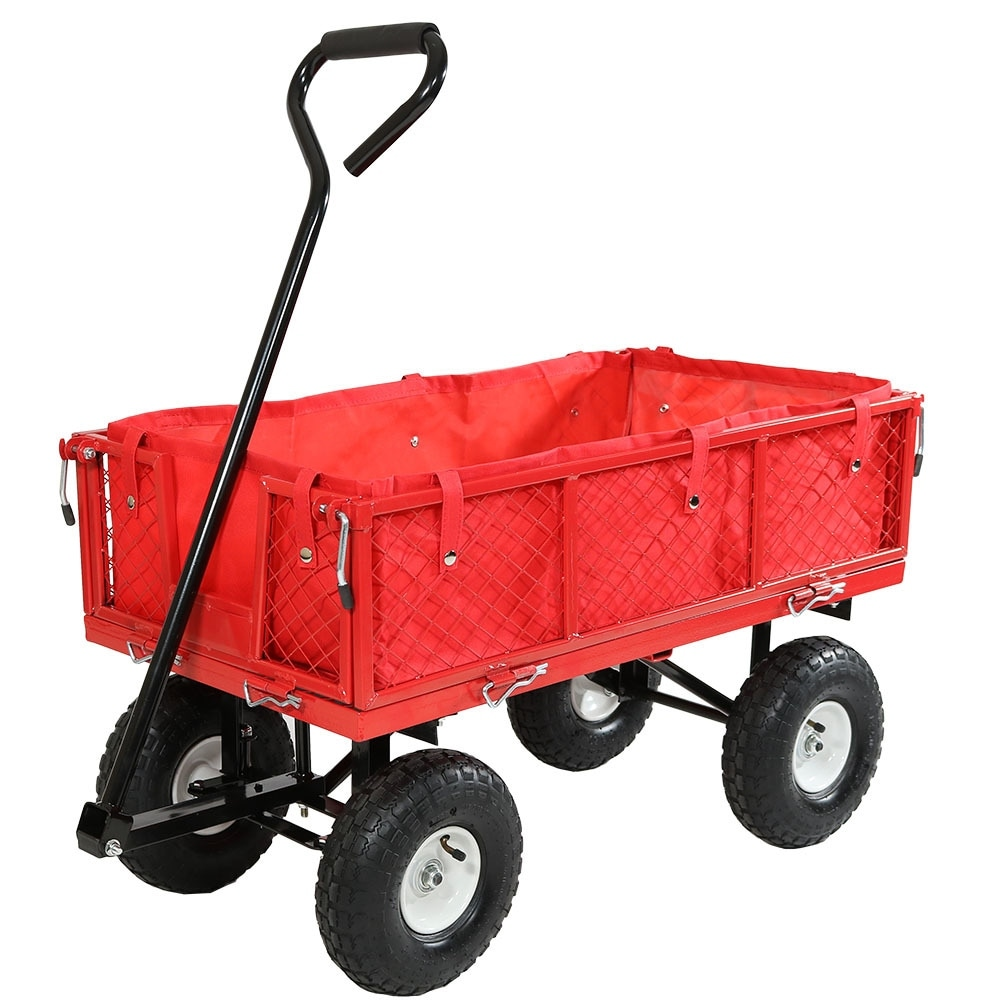 Sunnydaze Utility Cart with Folding Sides and Liner Set - Multiple Colors Available - Thumbnail 1
