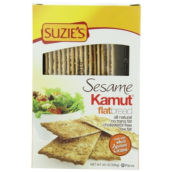 Suzie's Flat Bread - Sesame Kamut - Case of 12 - 4.5 oz.