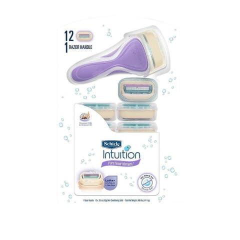 Schick Intuition Pure Nourishment, Coconut Milk and Almond Oil, 1 Razor Handle and 12 Cartridges