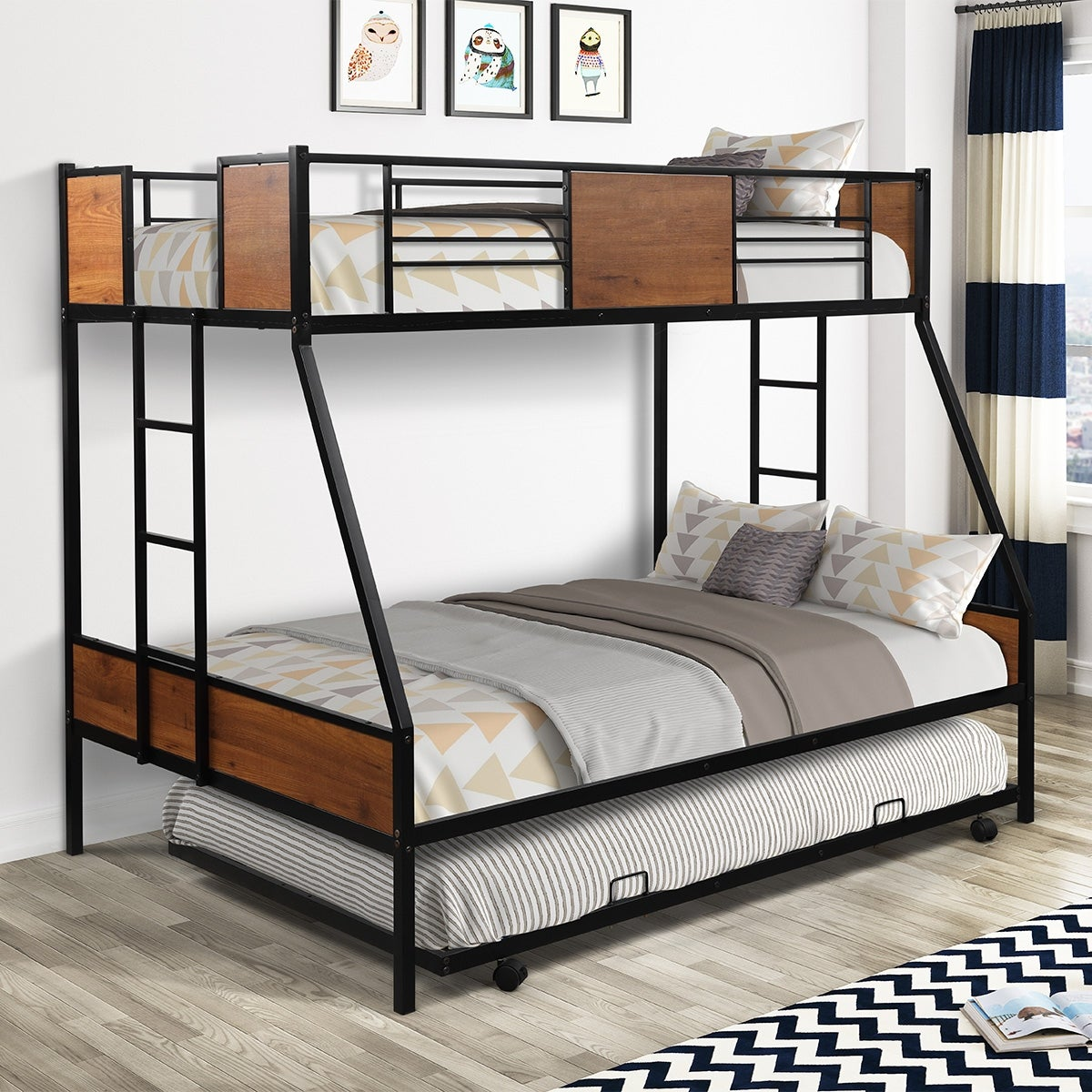 Merax Twin Over Full Metal Bunk Bed With Trundle Two Side Ladders On Sale Overstock 32465424 White