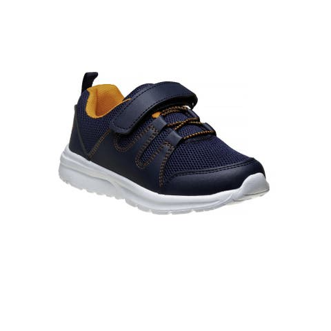 Avalanche Navy Orange Hook And Loop Breathable Pull On Sneakers Boys