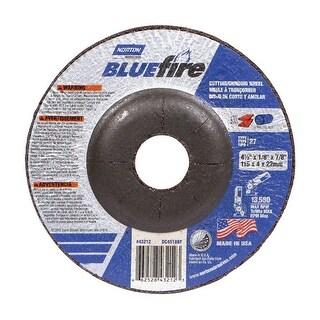 "Norton 66252843212 BlueFire Cutting & Grinding Wheel, 4-1/2"" Dia. x 1/8"" thick x 7/8"""