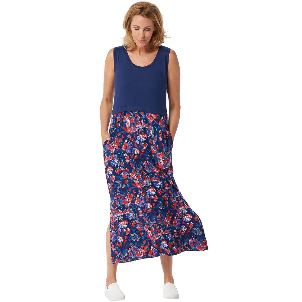 Cuddl Duds Womens Flexwear Maxi Dress Petite Large Navy/Floral A350549