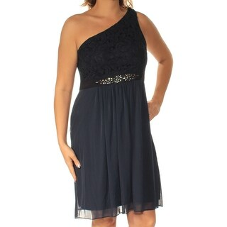 Womens Navy Sleeveless Knee Length Fit + Flare Dress Size: 20