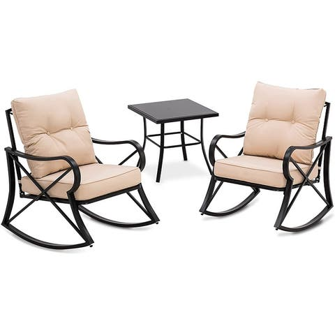 Mcombo Steel Patio Furniture Set, 3 Piece Outdoor Rocking Chairs Set with Coffee Table for Garden, Bristro, Deck 6084-RCKC05-BG