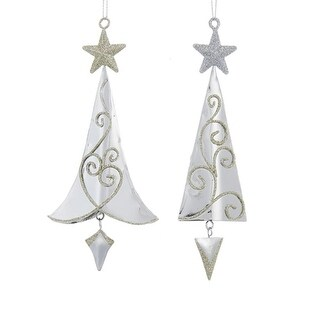Club Pack of 24 Silver and Gold Glitter Tree with Star Ornaments 6""