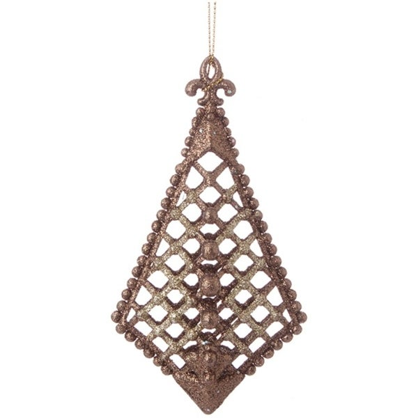 """5"""" Antique Copper Glittered Cross-Hatch with Raised Ball Accents Finial Christmas Ornaments"""