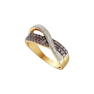 14k Yellow Gold Cognac-brown Colored Diamond Womens Crossover Cocktail Fine Ring 1/2 Cttw - Brown/White
