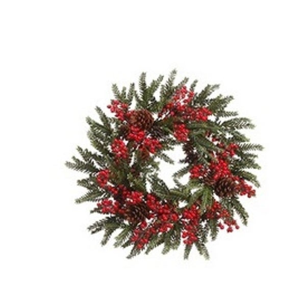 """22"""" Red Berry and Pine Cone Artificial Christmas Wreath - Unlit - green"""