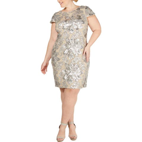 Calvin Klein Womens Plus Sheath Dress Sequined Cowl Neck - Silver/Nude