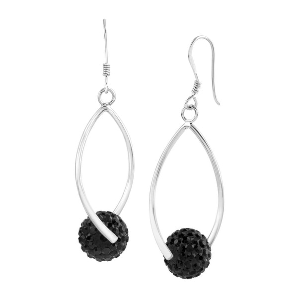 Crystaluxe Twisted Ball Drop Earrings with Swarovski Crystals in Sterling Silver - Black
