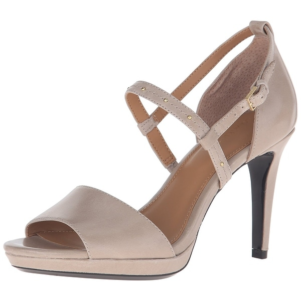 Calvin Klein Womens Pianna Leather Open Toe Casual Ankle Strap Sandals