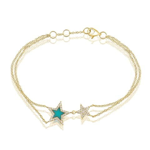 Star Bracelet Turquoise & Diamond 14K Yellow Gold by Joelle Collection