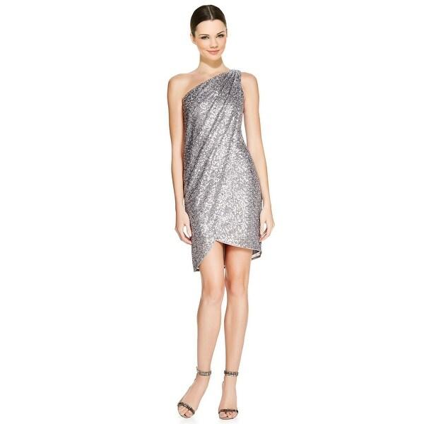 Aqua Sequined One Shoulder Draped Wrap Cocktail Evening Dress