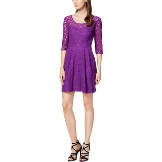 Betsey Johnson Womens Casual Dress Lace 3/4 Sleeves