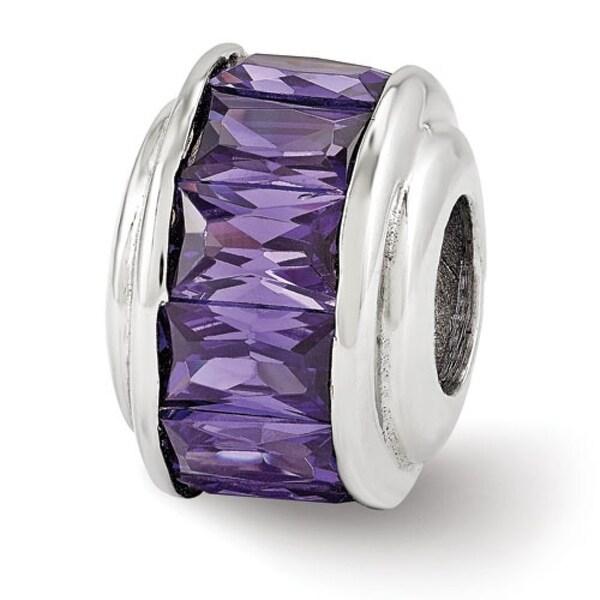 Italian Sterling Silver Reflections Purple CZ Bead (4mm Diameter Hole)