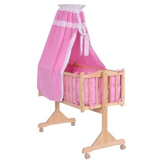 Costway Wood Baby Cradle Rocking Crib Newborn Bassinet Bed Sleeper Portable Nursery Pink