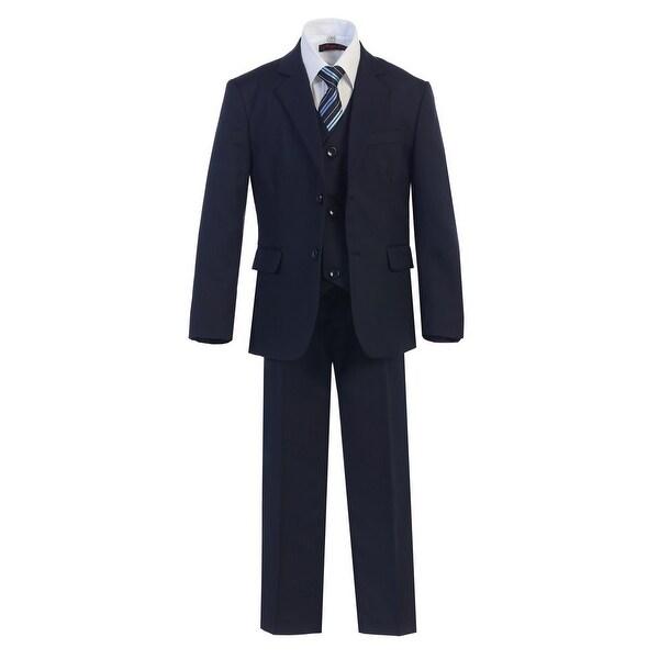Boys Navy 2 Buttons Formal 5 Pcs Vest Shirt Tie Suit