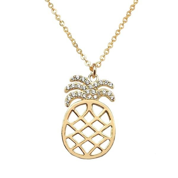 "Julieta Jewelry CZ Pineapple Gold Charm 16"" Necklace - Thumbnail 0"