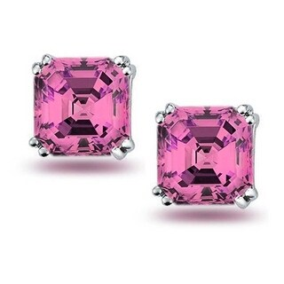 Bling Jewelry Square Pink CZ Stud earrings 925 Sterling Silver 8mm