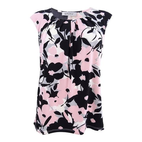 Kasper Women's Pleated Floral-Print Shell Top (S, Blossom Multi) - Blossom Multi - S