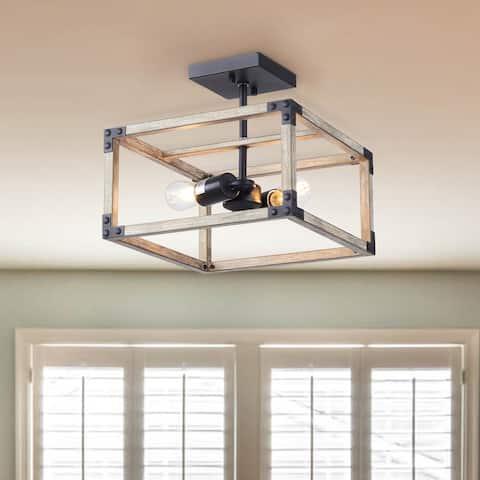 "CO-Z Industrial 2-Light Caged Square Semi Flush Mount Ceiling Light - 12.3""x12.3""x11"""