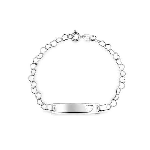 Engravable Name Plate Heart ID Identification Bracelet For Women For Teen 925 Silver Sterling Small Wrists 6 Inch