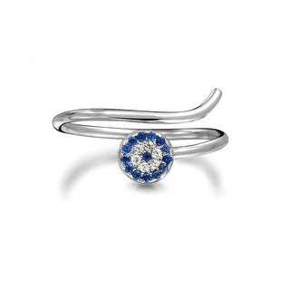 Blue CZ Evil Eye Stackable Knuckle Ring Silver