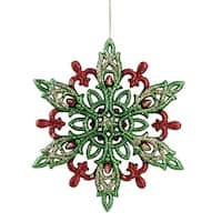 "4.75"" Green, Red and Gold Glitter Snowflake Christmas Ornament"
