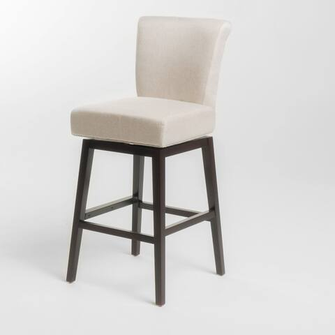 "44.5"" Ivory and Brown Swivel High Back Counter Barstool"