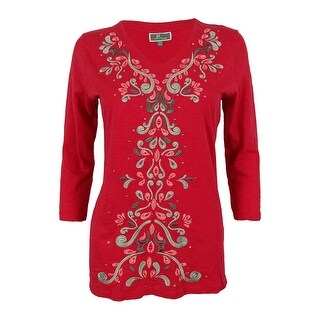 JM Collection Women's Embroidered V-Neck Tunic Top - pm