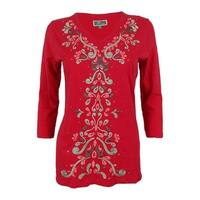 JM Collection Women's Embroidered V-Neck Tunic Top - Gala Rose Combo - PM