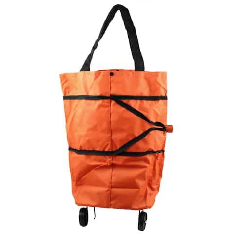 Orange Environmental Reusable Recycle Folding Tote Shopping Trolley Bag w Wheels