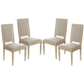 Set of 4 Vintage Antique French Style Square Upholstered Wood Side Dining Chairs / Dinette Chairs / Kitchen Chairs
