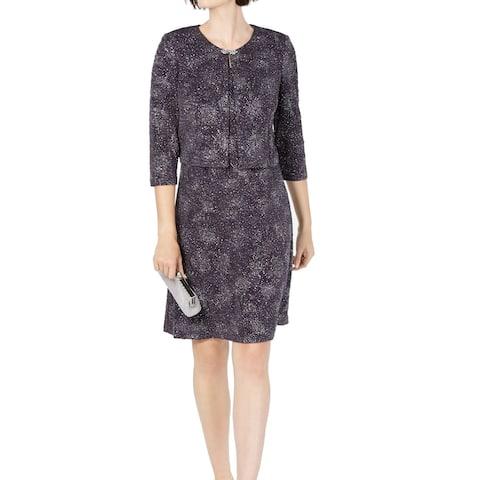 Alex Evenings Womens Sheath Dress Smoke Gray Size 16 Glitter Jacket