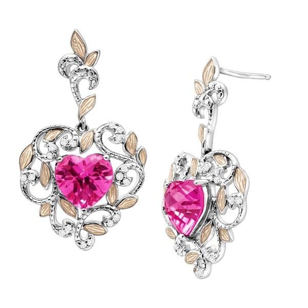 5 1/5 Created Pink Sapphire & White Topaz Vine Heart Drop Earrings in Sterling Silver