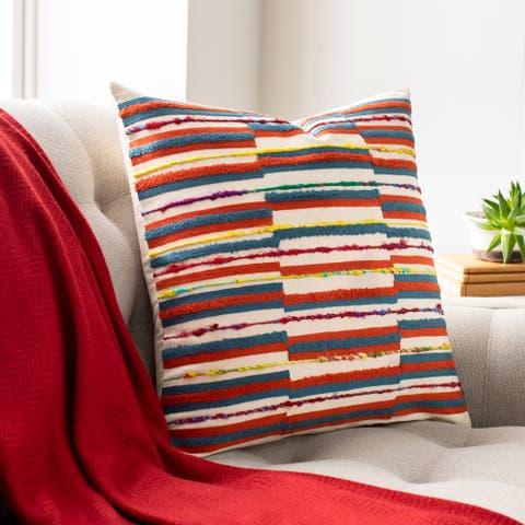 Carlile Embroidered Boho Stripe Throw Pillow