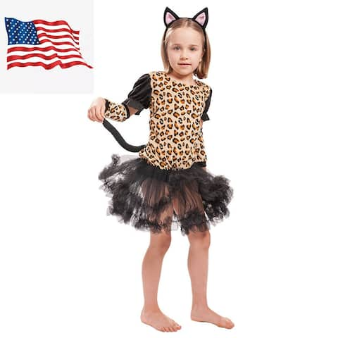 Eraspooky Kid Girl Leopard Cat Fancy Dress Halloween Carnival Party Cosplay Costume Outfit