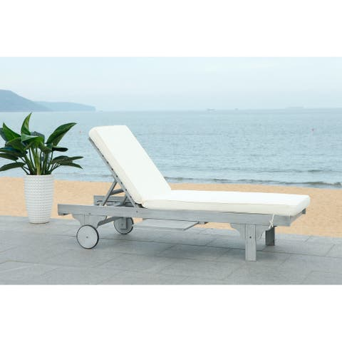 "Safavieh Outdoor Living Newport Ash Grey/ White Cart-Wheel Adjustable Chaise Lounge Chair - 27.6"" x 78.7"" x 14.2"""