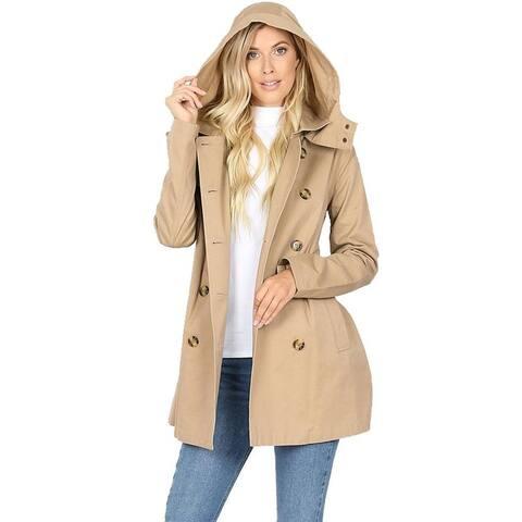 NioBe Clothing Womens Cotton Hooded Twill Trench Coat Jacket