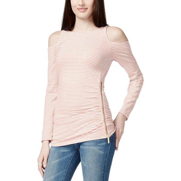MICHAEL Michael Kors Womens Pullover Top Striped Open Shoulder