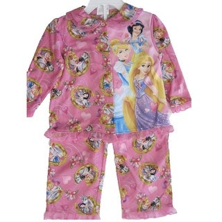 Disney Baby Girls Pink Princesses Images Print 2 Pc Pajama Set 12-24M