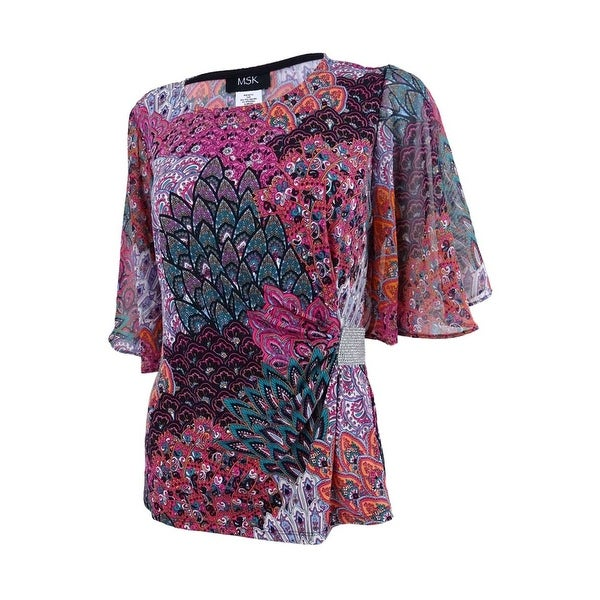 8674a0408eac Shop MSK Women's Rhinestone Flutter-Sleeve Evening Blouse (M, Magenta) -  Magenta - m - Free Shipping On Orders Over $45 - Overstock.com - 21855105